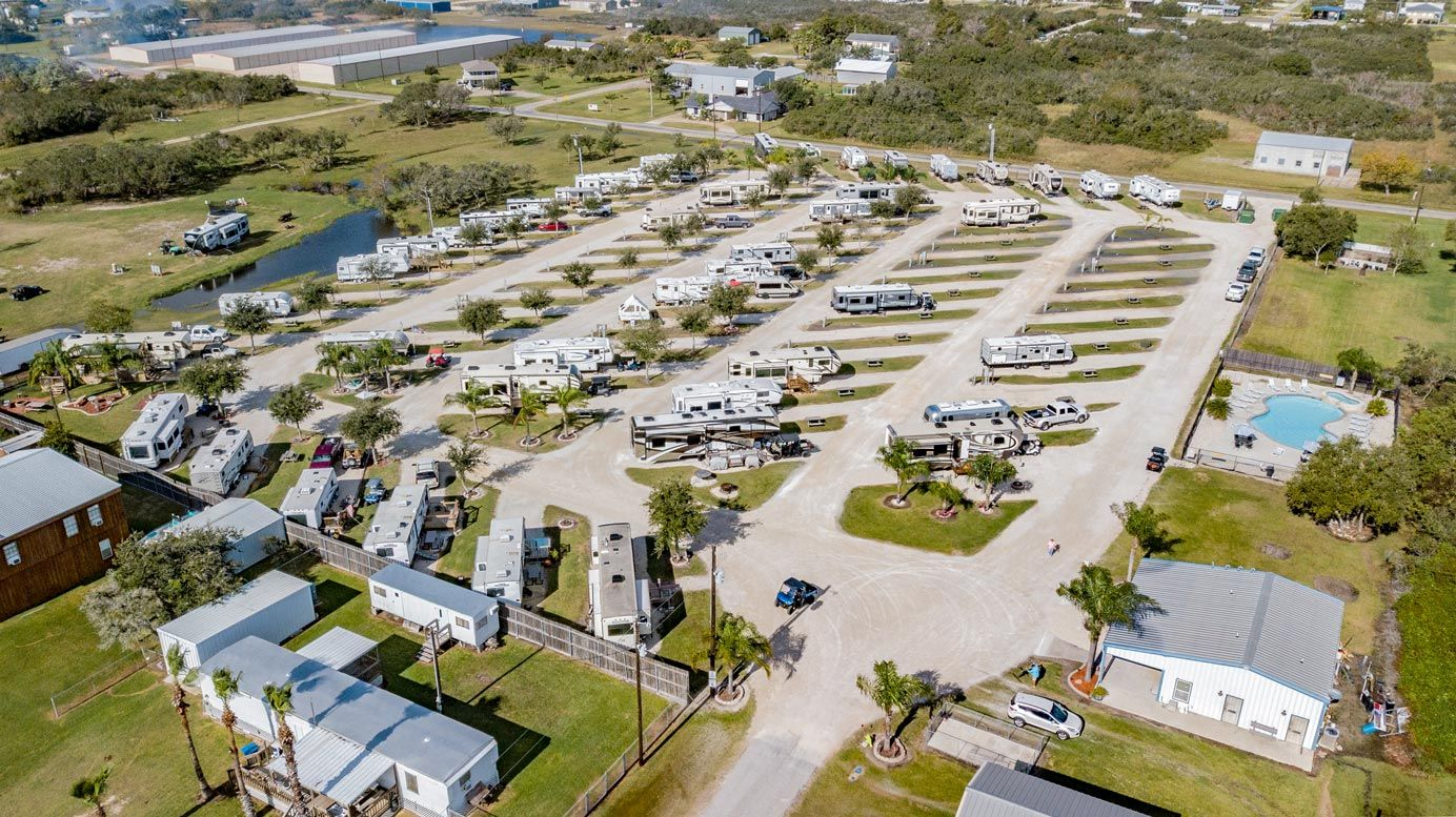 Aerial view of Port O'Connor RV Park
